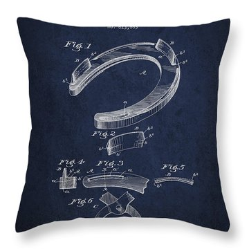 Horseshoe Patent Drawing From 1898 Throw Pillow by Aged Pixel