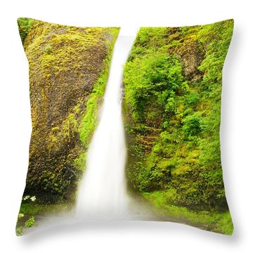Horsetail Falls In The Spring Throw Pillow by Jeff Swan