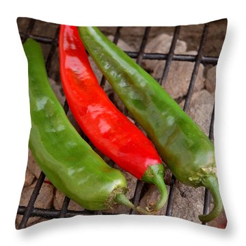 Hot And Spicy - Chiles On The Grill Throw Pillow by Steven Milner