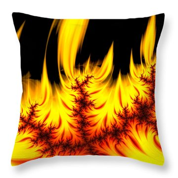 Hot Orange And Yellow Fractal Fire Throw Pillow by Matthias Hauser