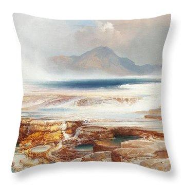 Hot Springs Of Yellowstone Throw Pillow by Thomas Moran
