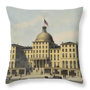Hotel Burnet Circa 1850 Throw Pillow by Aged Pixel