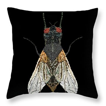 House Fly Bedazzled Throw Pillow by R  Allen Swezey