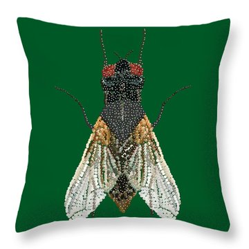 House Fly In Green Throw Pillow by R  Allen Swezey