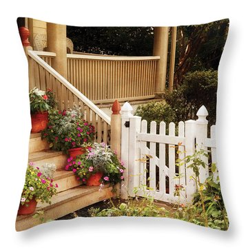 House - Rutherford Nj - My Grandmother's Garden  Throw Pillow by Mike Savad