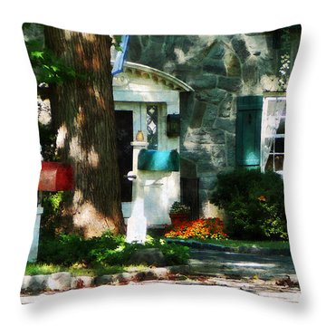 House With Turquoise Shutters Throw Pillow by Susan Savad