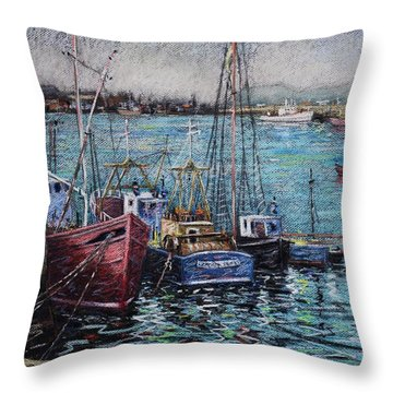 Howth Harbour  Dublin Throw Pillow by John  Nolan