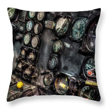 Huey Instrument Panel 2 Throw Pillow by David Morefield