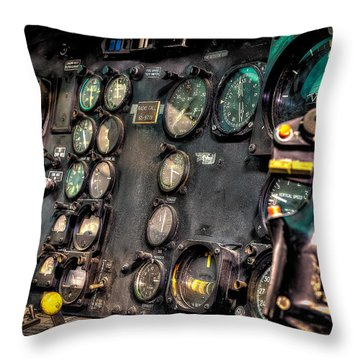 Huey Instrument Panel Throw Pillow by David Morefield