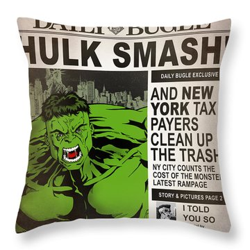 Hulk Smash - Daily Bugle Throw Pillow by Mark Rogan