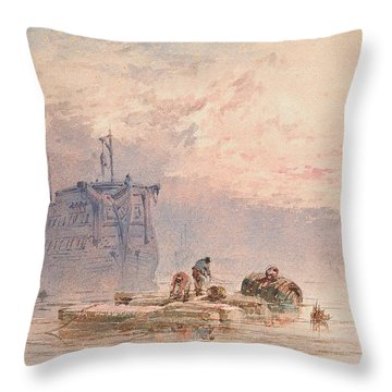 Hulks At Anchor Throw Pillow by William Cook of Plymouth