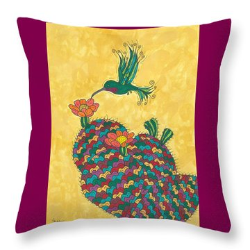 Hummingbird And Prickly Pear Throw Pillow by Susie Weber