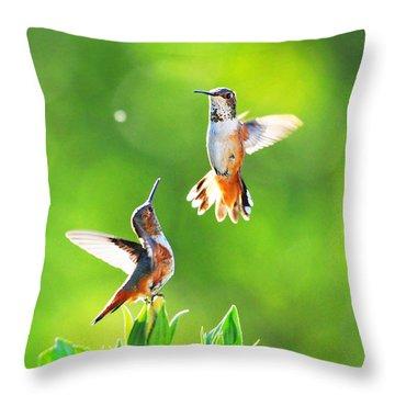 Hummingbird Dance  Throw Pillow by Lynn Bauer