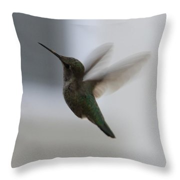 Hummingbird In Flight Throw Pillow by Carol Groenen