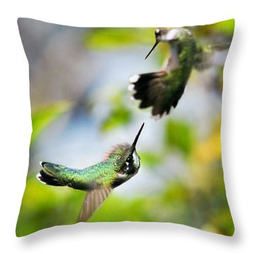 Hummingbirds Ensuing Battle Throw Pillow by Christina Rollo