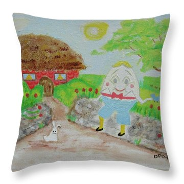Humpty's House Throw Pillow by Diane Pape