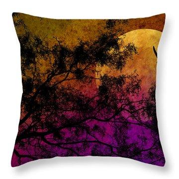 Hunter's Moon Throw Pillow by Karen Slagle
