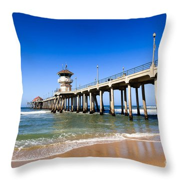 Huntington Beach Pier In Southern California Throw Pillow by Paul Velgos