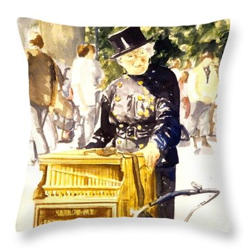 Hurdy Gurdy Frau Throw Pillow by Leisa Shannon Corbett