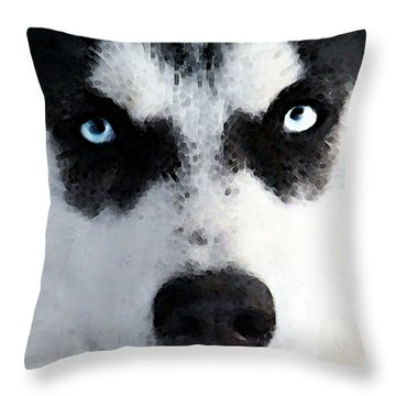 Husky Dog Art - Bat Man Throw Pillow by Sharon Cummings