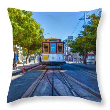 Hyde Street Trolley Throw Pillow by Scott Campbell