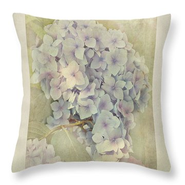 Hydrangea Macrophylla Blue Bonnet Throw Pillow by John Edwards