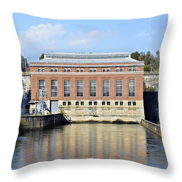 Hydroelectric Power Throw Pillow by Susan Leggett