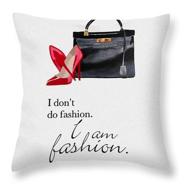 I Am Fashion Throw Pillow by Rebecca Jenkins