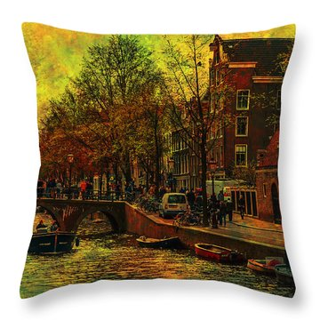 I Amsterdam. Vintage Amsterdam In Golden Light Throw Pillow by Jenny Rainbow
