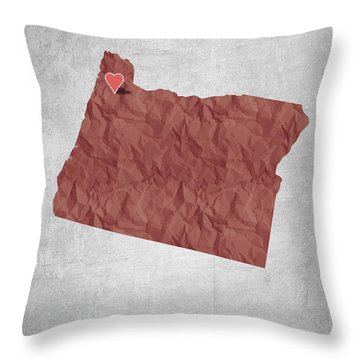 I Love Portland Oregon- Red Throw Pillow by Aged Pixel