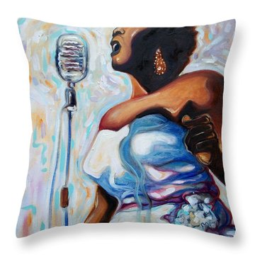I Love The Blues Throw Pillow by Emery Franklin
