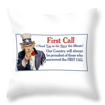 I Need You In The Navy - Uncle Sam Wwi Throw Pillow by War Is Hell Store