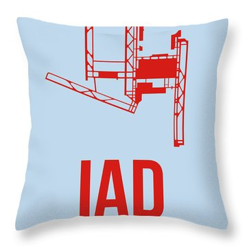 Iad Washington Airport Poster 2 Throw Pillow by Naxart Studio