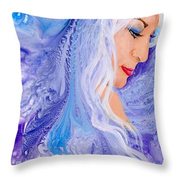 Ice Angel Throw Pillow by Sherry Shipley