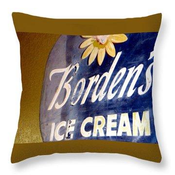 Ice Cream Sign Throw Pillow by Dorothy Menera
