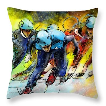 Ice Speed Skating 01 Throw Pillow by Miki De Goodaboom