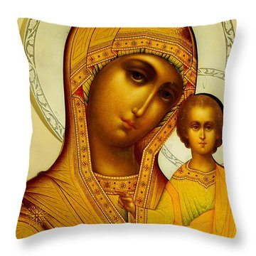 Icon Of The Virgin Kazanskaya Throw Pillow by Dmitrii Smirnov