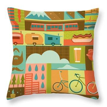 Iconic Portland Throw Pillow by Mitch Frey