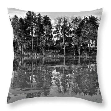 Icy Pond Reflects Throw Pillow by Frozen in Time Fine Art Photography