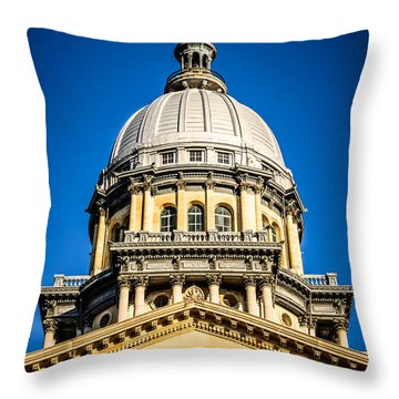 Illinois State Capitol Dome In Springfield Illinois Throw Pillow by Paul Velgos