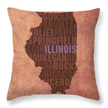 Illinois State Word Art On Canvas Throw Pillow by Design Turnpike