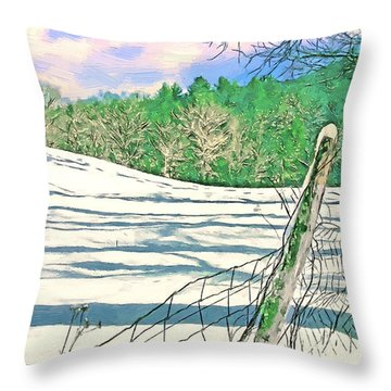Impressions Of A Snow Covered Farm Throw Pillow by John Haldane