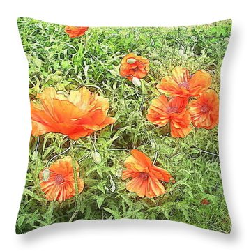 In Flanders Fields The Poppies Grow Throw Pillow by PainterArtist FIN