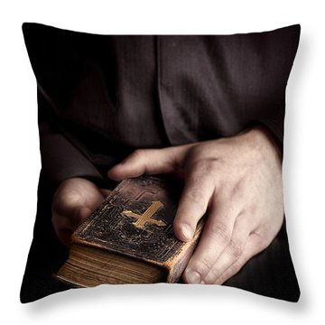 In His Hands Throw Pillow by Margie Hurwich