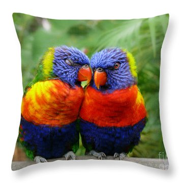 In Love Lorikeets Throw Pillow by Peggy  Franz