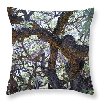 In The Depth Of Enchanting Forest II Throw Pillow by Jenny Rainbow