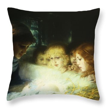 In The Manger Throw Pillow by Hugo Havenith