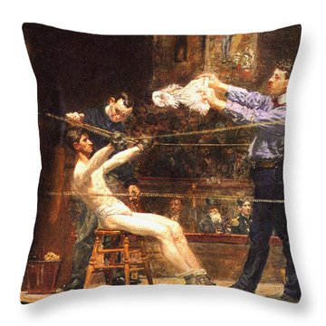 In The Mid Time Detail Throw Pillow by Thomas Eakins