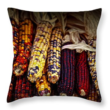 Indian Corn Throw Pillow by Elena Elisseeva