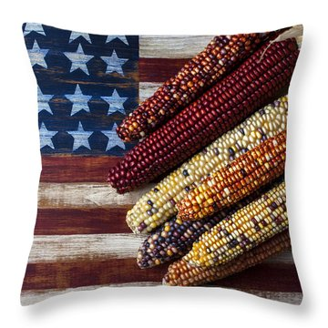 Indian Corn On American Flag Throw Pillow by Garry Gay